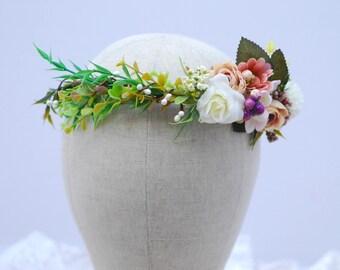 White beige flower crown  Bridesmaid hair Floral crown Flower girl crown Floral headband Bridal hair wreath Wedding flower halo Floral crown