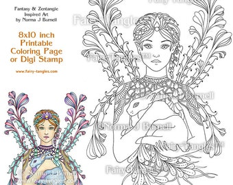Fairy of The Forest Printable Coloring Book Sheets and Pages by Norma J Burnell Adult Coloring for Grownups - Digital Coloring files Fairies