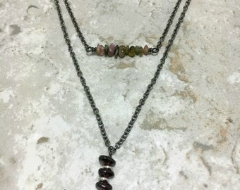 As Seen On Stitchers Gemstone TWO Necklace Set