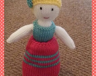 Hand knitted Topsy turvy doll