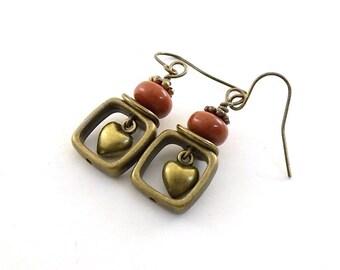 Handmade Heart Earrings, Brass Earrings, Brick Red Earrings, Lampwork Earrings, Antique Brass Earrings, Boho Earrings, Brass Jewelry, E072