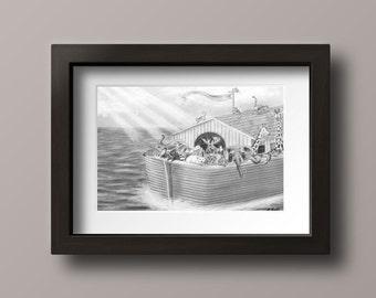Noah's Ark - Noah's Ark Nursery - Noah's Ark Print - Nursery Decor - Nursery Wall Art - Animal Art Print - Animal Art - Nursery Art