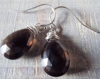 SALE! Smoky Quartz Earrings, Brown Stone Earrings, Sterling Silver Dangle Earrings, Graduation Gift, Mothers Day Gift, Pretty Earrings