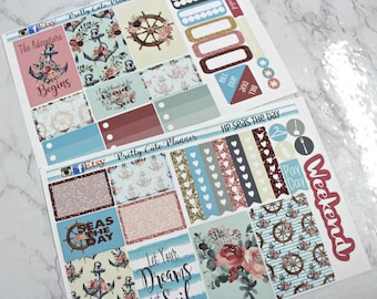 Happy Planner Stickers - Weekly Planner - Erin Condren Life Planner -  Functional stickers - Nautical sticker set - Cruise vacation stickers