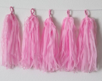 Tissue Paper Tassel Garland DIY KIT-Pink Party Decor-Cowgirl Party Tassels-Butterfly Party Garland-Pink Tissue Paper-Pink Tissue Banner