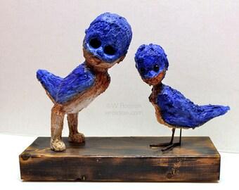 Human, Blue Birds, Morph, Assemblage Art, Original Art, Oddity, Humanoid, Fantasy, Art Doll, Birds, Winjimir, Americanimals, Art, Decor,