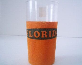 Vintage Florida Souvenir Glass/Tumbler with Orange Flocking