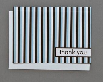 Brown/Blue/White Stripes (Thank You) 4-Bar Folded Card
