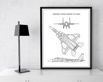 "F-15 Eagle Blueprint, Aircraft Blueprint, F15 Eagle, Instant Download, F-15, Aircraft Art, Air Force Decor, Aviation Art, 8x10"", 11x14"""