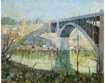 Hand-cut wooden jigsaw puzzle. HARLEM RIVER. Ernest Lawson. American landscape. Wood, collectible. Bella Puzzles.