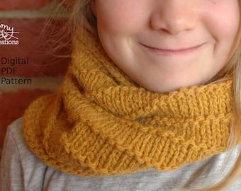 Lines Cowl & Hat Knitting Pattern / Digital PDF Download / Cowl Pattern / Knitting Pattern / Easy Knitting Pattern / Beginners Knitting