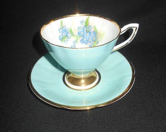"""Lovely """"Clare"""" Light Blue Teacup and Saucer"""