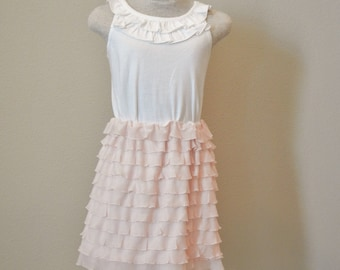 Ruffle fabric skirt, spring ruffle skirt, flower girl skirt, pink ruffle skirt