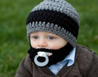 Infant ULTIMATE Gray 1-Black Stripe Bearded Beanie