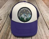 "Girls Toddler/Kid Purple Trucker Hat with ""Mountai..."