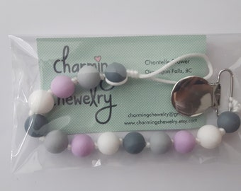 Purple and Gray Paci Clips