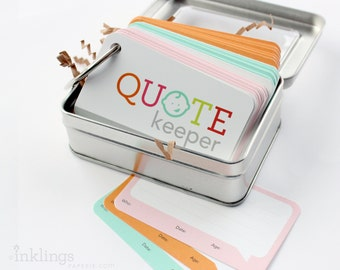 Quote Keeper Ring with Cards // Choose your Colors // Quote journal, baby sprinkle gift, baby shower, baby book, baby album, new mom gift