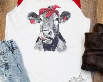 Cow Kisses, Funny Ladies T-Shirt- Moo Cow Funny Tee- Funny Ladies Shirt- Cow Sleeveless, Cow lover, Cow Tee, sleeveless Raglan
