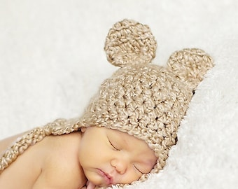 Bear Hat - Baby Bear Hat - Baby Hat - 0  - 3 months Baby Hat - Baby Girl Hat with Bow Clip - by JoJosBootique