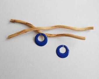 X 2 dark blue round sequins 17 mm