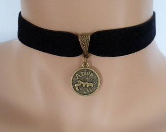 velvet choker, aries choker, star sign necklace, stretch ribbon, black velvet