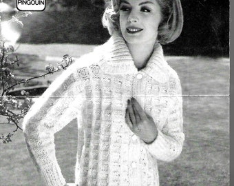 PINGOUIN 480 1960's Ladies Jacket Original Vintage Knitting Pattern