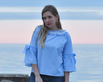Striped Blouse 3/4 Sleeve