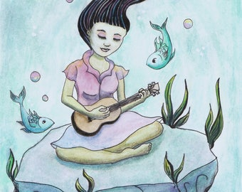 Underwater Dream Childrens Wall Art Illustration Storybook Print of Girl Ukulele Music Themed Gift A5 Watercolor Watercolour