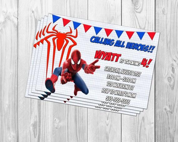 Amazing spiderman birthday party invitation marvel avengers solutioingenieria Gallery