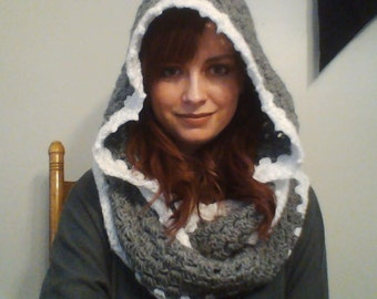 Hooded Cowl - Crochet Infinity Scarf with Hood - Custom Made Wrap Around Scarf with Hood