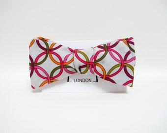 Geo print bow tie, orange pink circles bowtie, valentine's