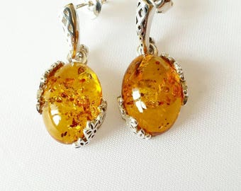 Baltic amber earrings, sterling silver (jewelry set). Statement earrings. Organic and Eco Jewelry.