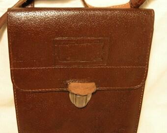 Vintage 1960's Dark Brown Leather Officer Field Bag - Shoulder Bag