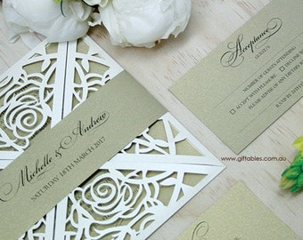 Laser Cut Rose Printed Invitation