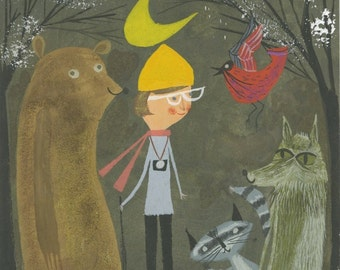 Vivienne's nightly walk.   Limited edition print of an original painting by Matte Stephens.