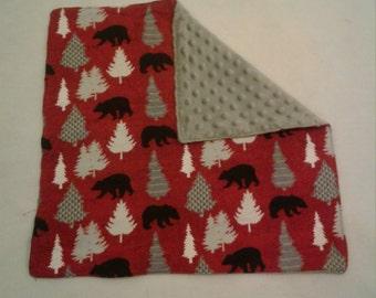 Bear minky Lovey/ Security Blanket