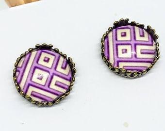 Purple geometric earrings, purple earrings, purple stud earrings, studs earrings, purple cabochon earrings, studs, studs earrings, stud  #5