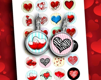 Hearts Round circles 12mm, 14mm, 16mm, 20mm for Earrings, Cuff Links Digital Collage Sheet Instant Download