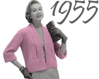 Vintage Sweater Pattern 1950s Sweater Box Jacket Three Quarter Sleeve Instant Download Pattern Knitting Pattern Vintage Knitting 50s Pattern