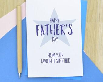 Step Dad Fathers Day card - cheeky stepdad Fathers day card, stepdad card from favourite stepchild