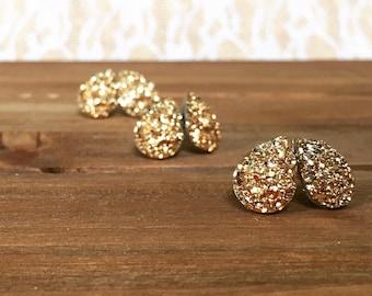 Bridal Earrings - Teardrop Gold Druzy - Wedding Jewelry