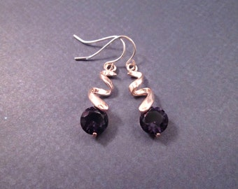 Amethyst Rhinestone Drop Earrings, Swirl Pendants, Rose Gold Tone Dangle Earrings, FREE Shipping U.S.