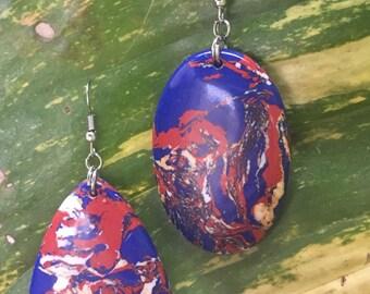 Mismatched Earrings, Freeform Earrings, Blue Earrings,Red Earrings,Boho Jewelry, Marbled Earrings,Oval Earrings,Geometric Earrings
