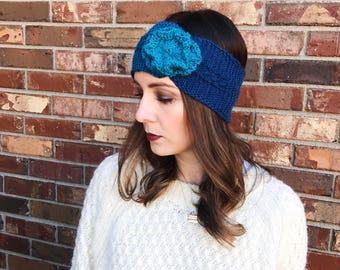 Teal Flower Cable Knit Ear Warmer | Cable Knit Ear Band | Knit Headband | Warm Headwrap | Winter Headband | AuntBarbsBands