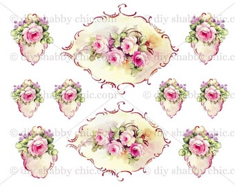 Furniture Decal Shabby Chic French Image Transfer Vintage Rose Frame Flower  Old Label Recycle Upcycling Art Crafts Scrapbooking Card Making