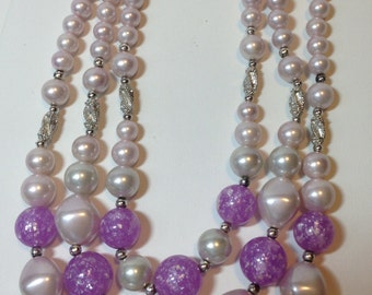 Purple Bead Necklace, Speckled Beads, Three Strands, Vintage, 1960s
