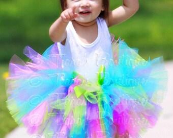 Pink Blue Green Purple Tutu, Baby Tutu, Girls Tutu, Birthday Party Tutu, Beach Sparkle, Sewn Tutu, Newborn Photo Prop