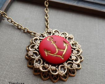 Vintage German Glass Button Necklace, Anchor, Gold Highlights, Red, Antique Brass Filigree