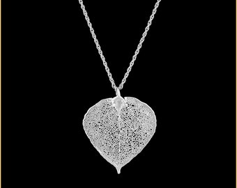 Real Aspen Leaf Dipped In Silver Pendant - Real Dipped Leaf - In Gift Box