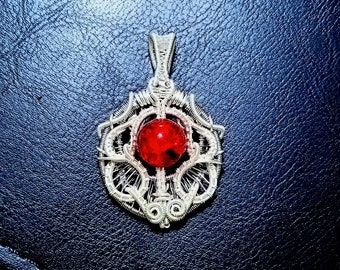 Red glass bead pendant